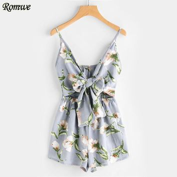 Floral Print Cut Out Knot Front Romper Summer Women's Romper Hollow Out Sleeveless V Neck Sexy Romper