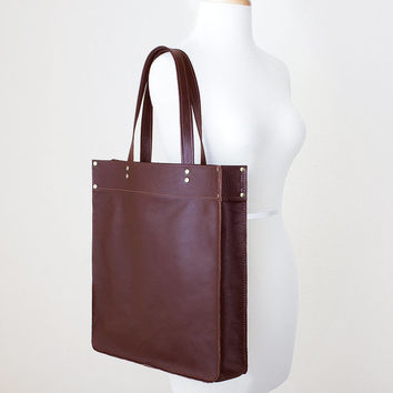 Large Oxblood Leather Tote Bag, Everyday Leather Shoulder Bag, Minimal Leather Tote, Leather Shopper