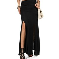 Black Ruched Slit Front Maxi Skirt