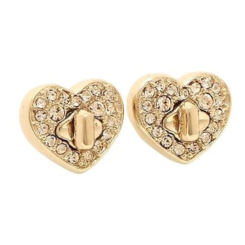 Coach Crystal Earrings Stud Gold New In Box