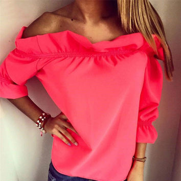 Fashion Women Blouse  puff sleeve slash neck soild shirt Strapless Off Shoulder Ruffles Feminine Blouses Ladies Tops TeeLJ3866M