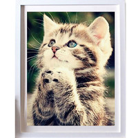 For 11.11 New 25*30cm DIY 5D Naughty Kitten Cat Stitch Kit Crystal Diamond Embroidery Painting Cross Stitch Home Decor Craft