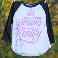Make Your Dreams A Reality Kids' 3/4 Sleeve Raglan | Jessica Holmberg Collection