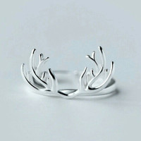925 Sterling Silver Antler Ring - Statement Ring - Stackable Ring - Animal Ring - Deer Ring - PREORDER
