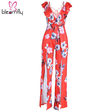 Women Long Rompers Ladies Summer Red Sexy Deep V Neck Floral Casual Jumpsuit Party Club Overalls Cross Straps  Wide Leg Bodysuit