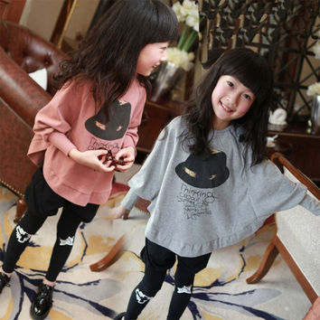 21KIDS Autumn Baby Girls T-shirt Pullover Kids Batwing Long Sleeve Tops Black Hat Printing Clothes = 1946707652