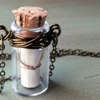 Message In A Bottle Necklace Wire Wrapped by paperfacestudio