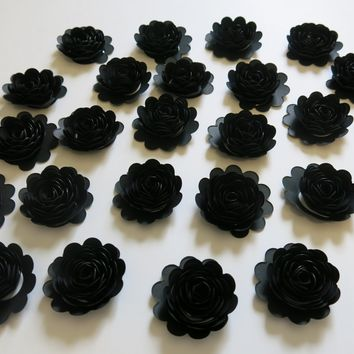 "24 Black Carnations, 1.5"" Scalloped Paper Flowers, 50th Birthday Party Decor, Cake Topper"
