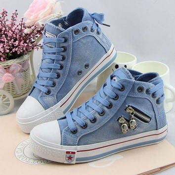 Women's Denim Canvas Zipper Sides Lace Up Tennis Shoes