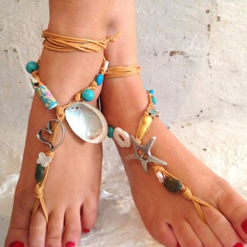 Barefoot sandals. wedding sandals. Shell boho barefoot sandals, barefoot sandles, crochet barefoot sandals, , yoga, anklet  hippie shoes