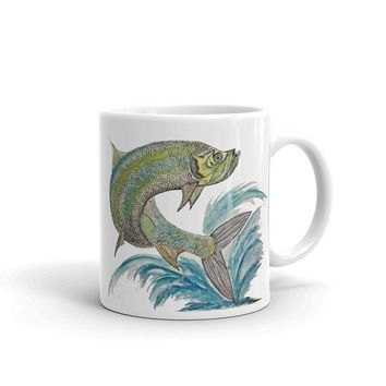 Tarpon Fish Mug, Gift Ideas, Personalized Mug Artwork by Kikajo InkTarpon Fish Mug