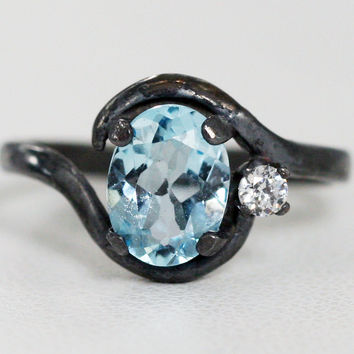 Oxidized Oval Aquamarine and White CZ Accent Ring, Oxidized 925 Sterling Silver, March Birthstone Ring, Oxidized Oval Accent Ring