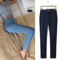 Skinny Jeans Woman Plain Hight Waist Jeans Women Stretch Waist Slim Pencil Pants Jeans Femme Jean Taille Haute XS-XL