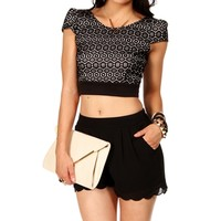 BlackWhite Knitted Crop Top