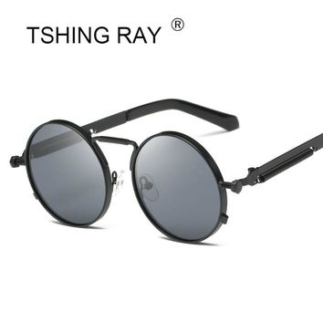 TSHING RAY 2018 New Mens Gothic Steampunk Round Sunglasses Men Coating Mirrored Circle Vintage Punk Sun Glasses For Women Female