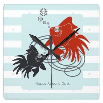 Happy Aquatic Days – Cute Funny Goldfish Square Wall Clock
