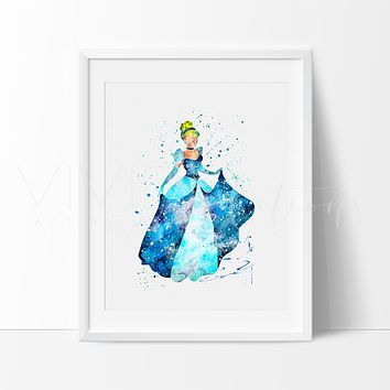 Cinderella Princess Watercolor Art Print