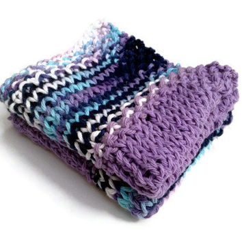 Dishcloth Washcloth Purple Blue and White Handknit Set of Two