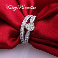 1 Ct Pear Cut Man Made Diamond Engagement Ring / Promise Ring with Channel Set Double Band /  Split Shank Crown Setting  ( FairyParadise )