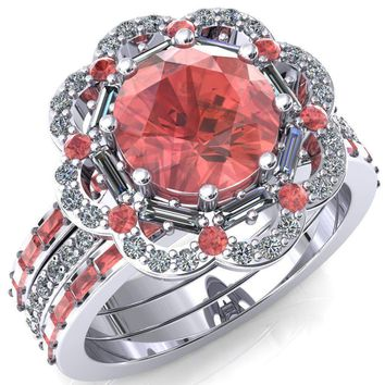 Camelia Round Lab-Created Padparadscha Sapphire Accent Diamond and Padparadscha Sapphire Halo Ring