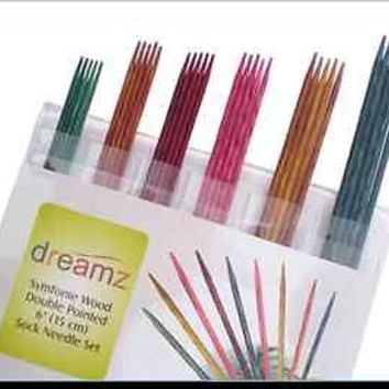 "Knitters Pride Dreamz Symfonie Wood 6"" Double Point Sock Knitting Needle Set"