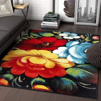 7055 Multi Color Floral Contemporary Area Rugs