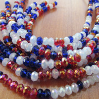 Red white blue faceted rondelle chinese crystal beads
