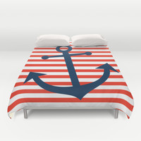 Nautical Anchor Duvet Cover by All Is One