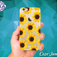Sunflower Yellow Flower Pattern Cute Boho Tumblr Accessory Custom Clear Transparent Rubber Case Cover For iPhone 6 and iPhone 6 Plus +
