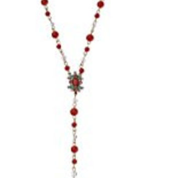 Betsey Johnson Betsey's Delicates Coral-Color Bead Tassel Necklace