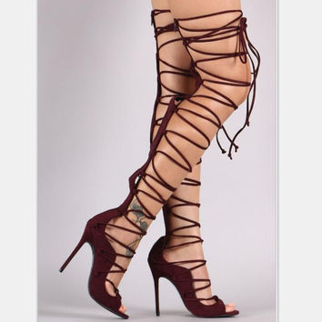 Black sexy over-the-knee boots lace up high-heels sandals shoes for women
