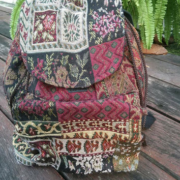 Backpack Aztec Ikat Tribal Flora Boho Printed Woven Hippie Design Nepali Handwoven Patterns Handmade Bags For Beach School 14x13inch Red