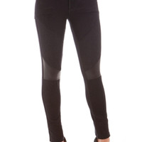 Faux Leather Patch Skinny Pants