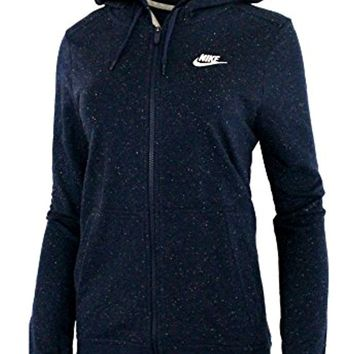 NIKE Women's Confetti Sportswear Zip - Up Hoodie Blue