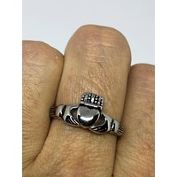 Vintage 1970's Celtic claddagh stanless sreel band Ring