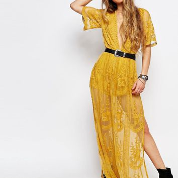 Honey Punch Boho Maxi Dress With Plunge Neck In Romantic Lace at asos.com