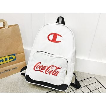 Champion sells men's and women's casual shopping style embroidery large-capacity backpacks White