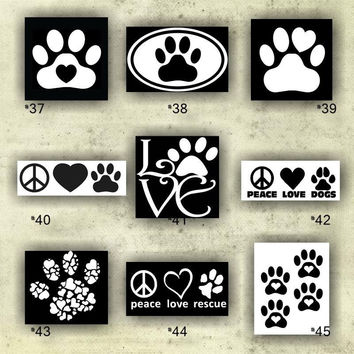 PAW PRINT vinyl decals - 37-45 - custom vinyl stickers - personalized car window stickers - wall decals - paw prints sticker