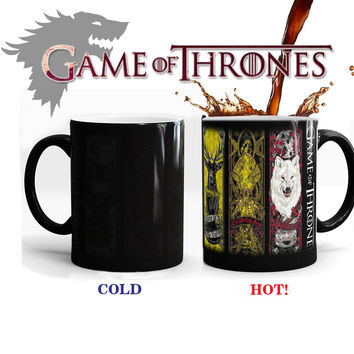 Game Of Thrones mugs a song of ice and fire coffee mug heat changing color Ceramic Tea Cup House Stark,Baratheon,Greyjoy,Martell