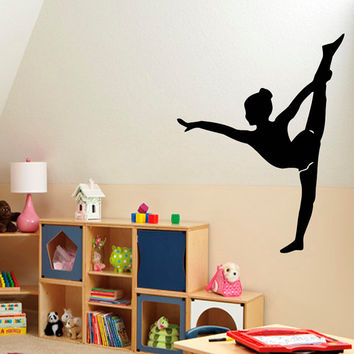Dancing Wall Decals Sport Dance Little Girl Gymnast Dancer Vinyl Decal Sticker Home Mural Gym Interior Design Kids Nursery Room Decor KG447