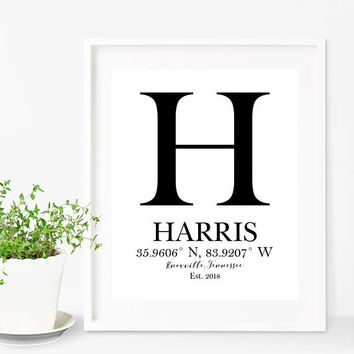 Personalized Name Art, Coordinates Print, Monogram Art, Gift For New Home, Custom Housewarming Gift, Couples Gift, Monogram Gift, Name Art
