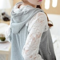 Lace Stitching Casual Loose Cardigan Sweater BADC