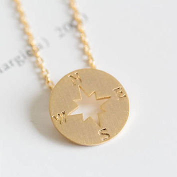 Compass Dainty Necklace | Available in Gold or Silver