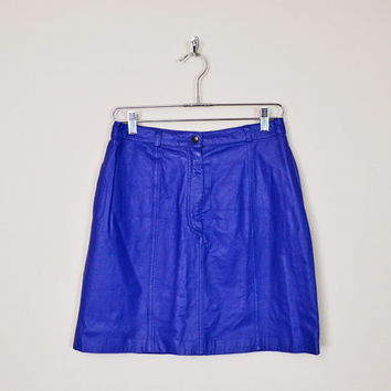 Vintage 80s Blue Leather Skirt Leather Mini Skirt High Waist Skirt Pencil Skirt Wiggle Skirt Body Con Bodycon Motorcycle Skirt Biker Skirt M