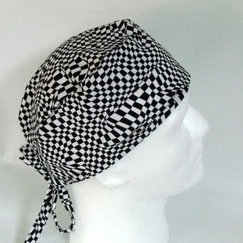 Men's Tie Back Surgical Scrub Cap Black and White Distorted Checks