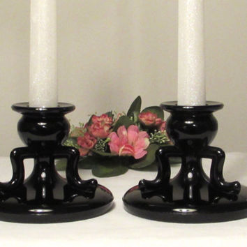 Black Amethyst Glass Candleholders, Pair of L.E. Smith Black Amethyst Glass Candlesticks, Valentine Decor, laslovelies