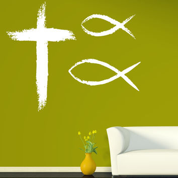 Large Wall Sticker Vinyl Decal Christian symbols faith religion cross God fish Unique Gift (n528)
