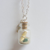 Message In a Bottle Pendant Necklace - Miniature Food Jewelry