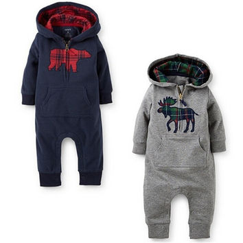2015 Brand kids Jumpsuit Autumn Long Sleeve Cotton Ropa Bebe Newborn Clothing Clothes Creepers Baby Boys Rompers = 1929633604
