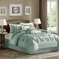 Madison Park Laurel 7 piece Comforter Set - Seafoam